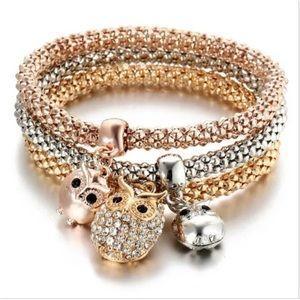 ❤️gorgeous 3pcs owl gold rose gold silver bracelet